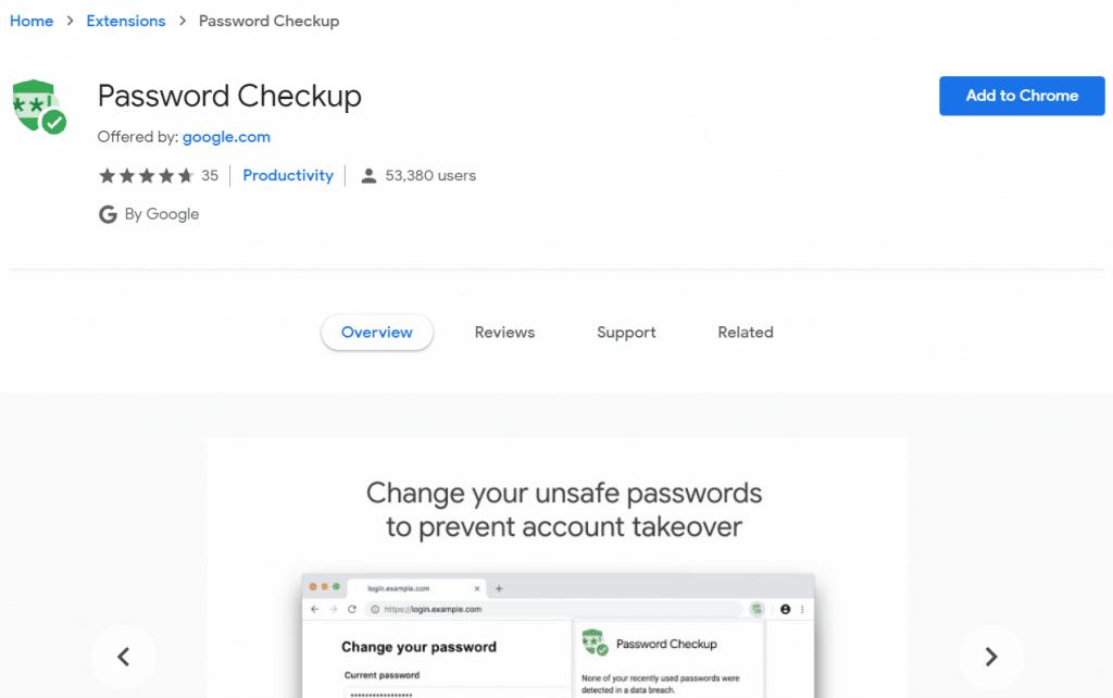 Google Chrome Password Checkup Extension