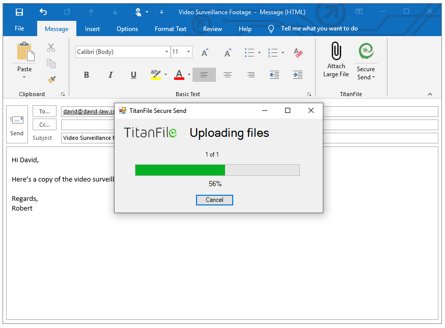 Attach Large File Outlook