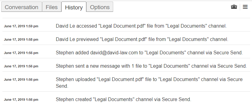 Secure Send Audit Logs Screenshot
